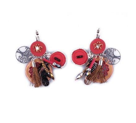 Boucles d'oreilles LOLILOTA breloques Rosacia plumes et pompons rouges et argent