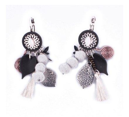 Boucles d'oreilles LOL breloques feuilles et libellule noires grises et argent