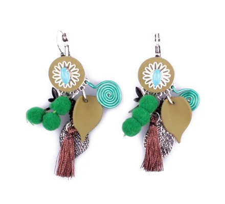Boucles d'oreilles LOL breloques feuilles et libellule vertes marrons et argent