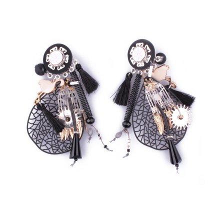 Boucles d'oreilles LOL à clips noires breloques Feuille filigrane cage à oiseau et plumes