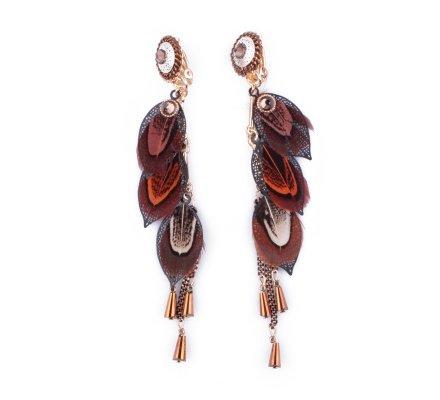 Boucles d'oreilles LOLILOTA Enfilade de plumes marrons