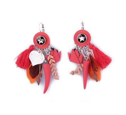 Boucles d'oreilles LOL breloques rouges et noires cygne et piment