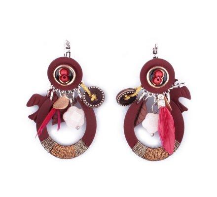 Boucles d'oreilles LOL breloques rouges et bordeaux anneau hirondelle et plumes