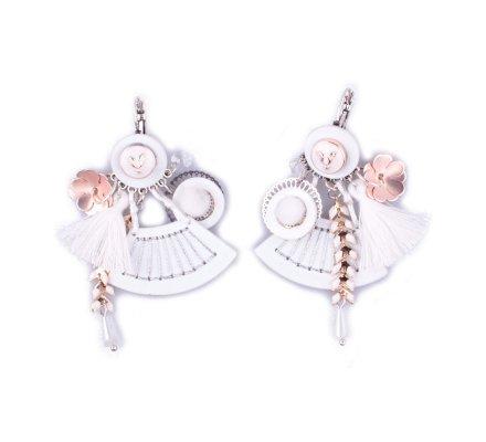Boucles d'oreilles LOL breloques Eventail pailleté breloques fleuries blanches et dorées