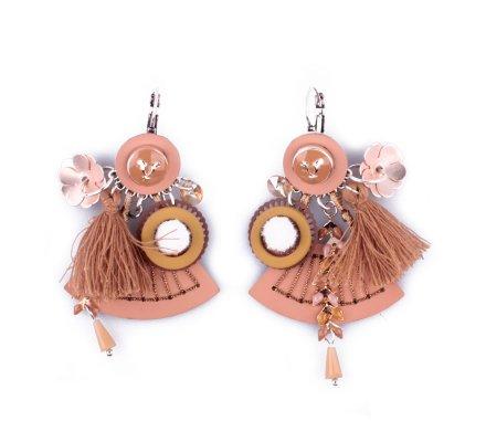 Boucles d'oreilles LOL breloques Eventail pailleté breloques fleuries marrons camel