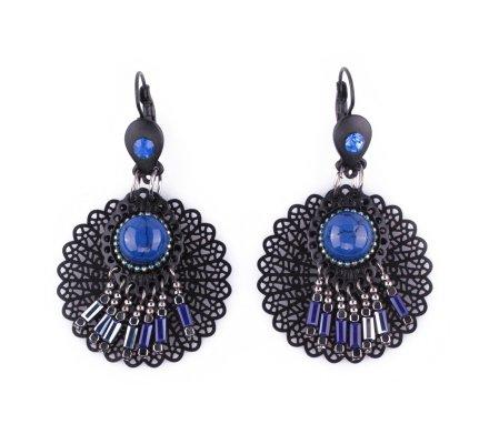 Boucles d'oreilles LOLILOTA Rosace filigrane noire et enfilade de perles bleues