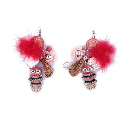 Boucles d'oreilles LOL breloques rouges hiboux et pompons