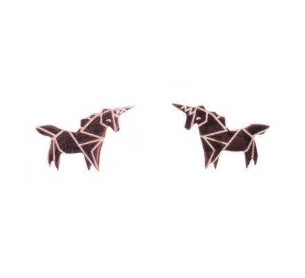 Boucles d'oreilles acier MILE MILA licorne cuivré