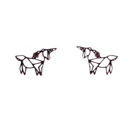 Boucles d'oreilles acier MILE MILA licorne graphique cuivré