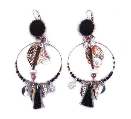 Boucles d'oreilles breloques anneaux fleuris noirs argent dorés poils noirs