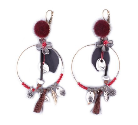 Boucles d'oreilles breloques anneaux fleuris rouges argent gris poils bordeaux