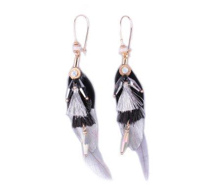 Boucles d'oreilles LOL plumes à pompons et perles grises et noires
