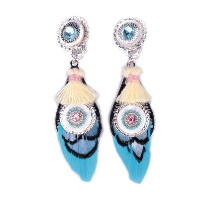 Boucles d'oreilles LOL à clips plumes turquoises et noires perlées nacre blanche