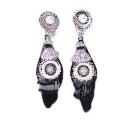 Boucles d'oreilles LOL à clips plumes noires et grises perlées nacre blanche