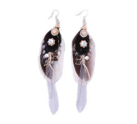 Boucles d'oreilles LOL plumes blanches et noires à pois perles et strass