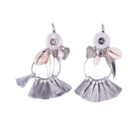Boucles d'oreilles LOL Anneaux à pompons argent cœurs plumes et coquillages