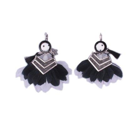 Boucles d'oreilles LOL Flèches pailletées à plumes noires et grises