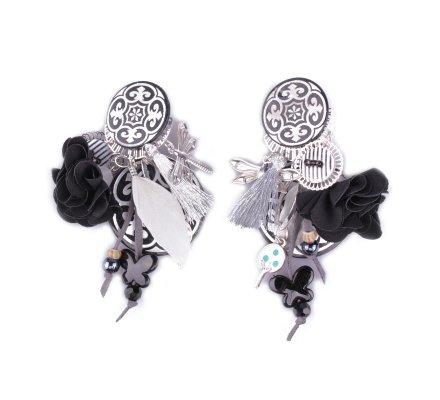 Boucles d'oreilles LOL à clips noires blanches et argent Royalista