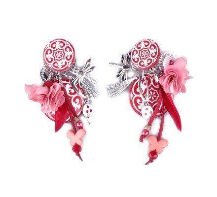 Boucles d'oreilles LOL à clips rouges blanches et roses Royalista