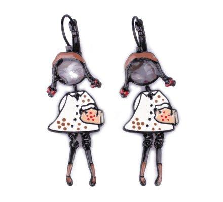 Boucles d'oreilles LOL poupées tressées robe beige à pois camel