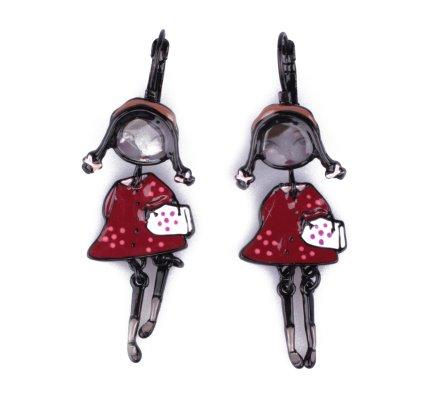 Boucles d'oreilles LOL poupées tressées robe bordeaux à pois roses