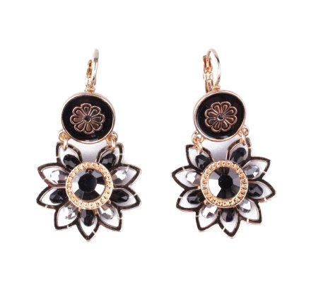 Boucles d'oreilles Lolilota fleurs dorées perles strass noires et grises
