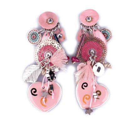 Boucles d'oreilles LOL à clips roses Coeurs à tourbillons et rosaces