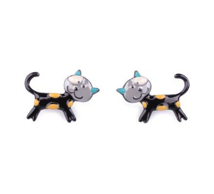 Boucles d'oreilles LOL petits chats noirs à pois jaunes