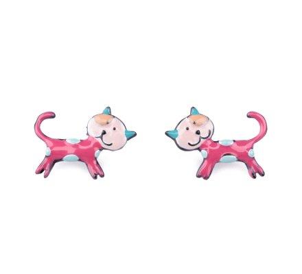 Boucles d'oreilles LOL petits chats roses à pois bleus