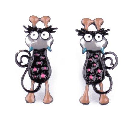 Boucles d'oreilles LOL petits chats allongés noirs à pois roses