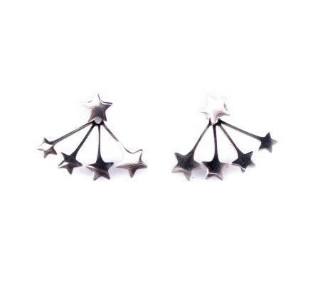 Boucles d'oreilles MILE MILA acier argent explosion d'étoiles