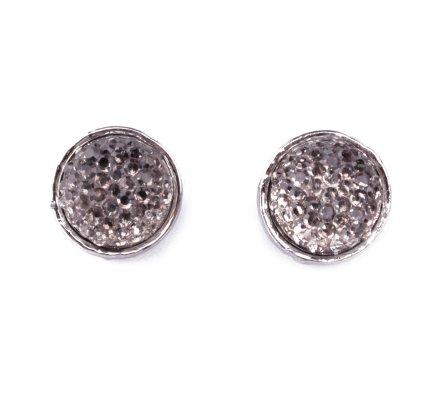 Boucles d'oreilles pastilles perles brillantes argent et grises