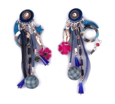 Boucles d'oreilles à clips LOL bleues Enfancis