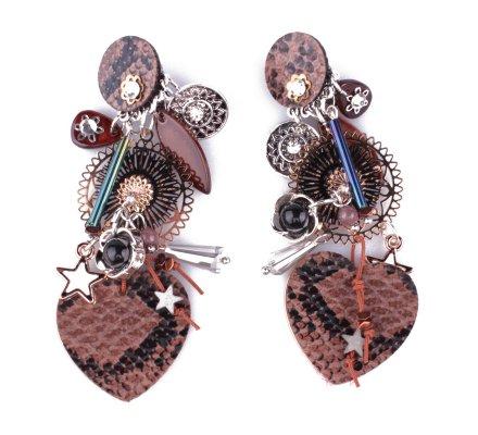 Boucles d'oreilles LOL à clips crococoeur marrons