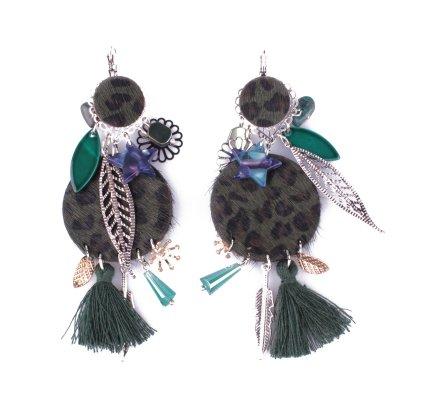 Boucles d'oreilles LOL vertes Gongs léopard et pompon