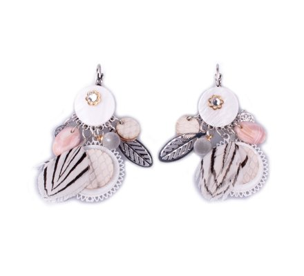 Boucles d'oreilles LOL blanches médaillon fleuri à plumes zébrées