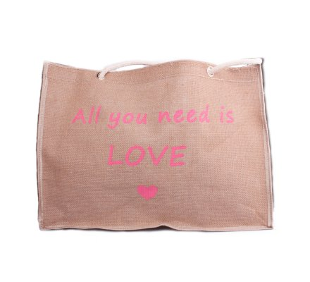 Sac toile de jute Cabas All you need is love rose