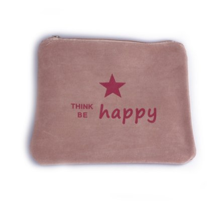 Pochette aspect daim beige think be happy rouge