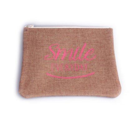 Pochette toile de jute Smile everyday rose
