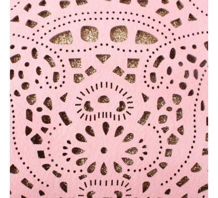 Sac à main pochette rose pâle ajourée paillettes dorées