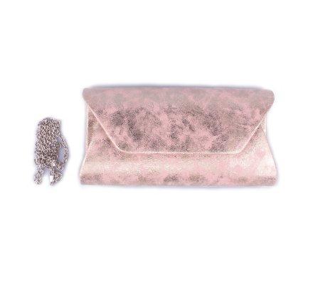 Pochette rigide rose nacrée dorée
