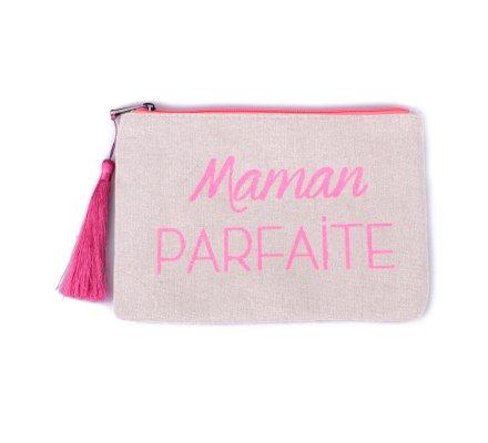 Petite pochette LOL beige pailletée Maman parfaite rose fluo et pompon