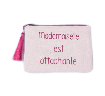 Pochette LOL beige pailletée Mademoiselle est attachiante rose et pompon