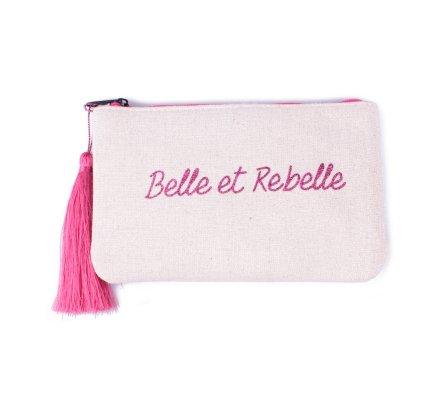 Petite pochette LOL beige pailletée Belle et Rebelle rose et pompon