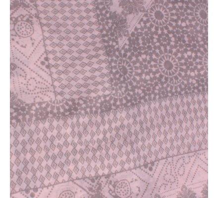 Echarpe rose pâle motifs fleuris ethniques beiges