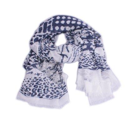 Echarpe blanche motifs léopard bleus et plumes de strass