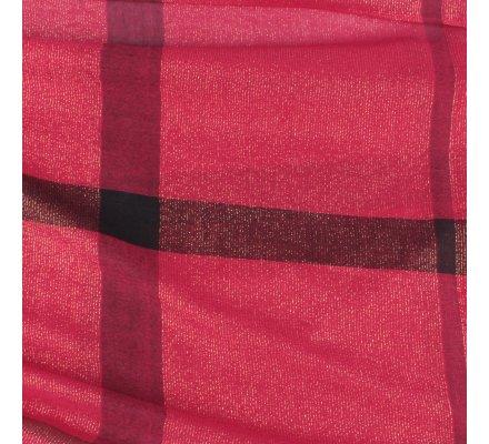 Echarpe à carreaux bordeaux rouge et noire paillettes dorées