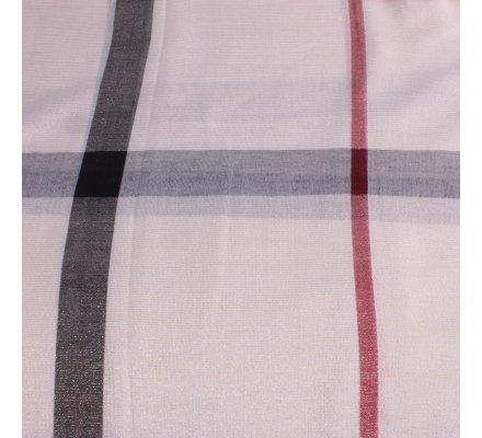 Echarpe à carreaux blanche rouge et noire paillettes dorées