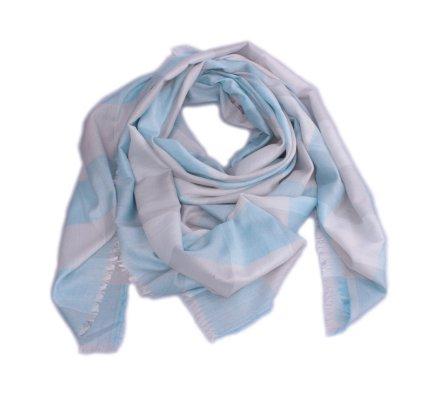 Echarpe à carreaux grise et bleue turquoise