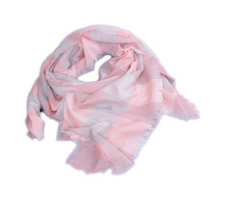 Echarpe à carreaux grise et rose